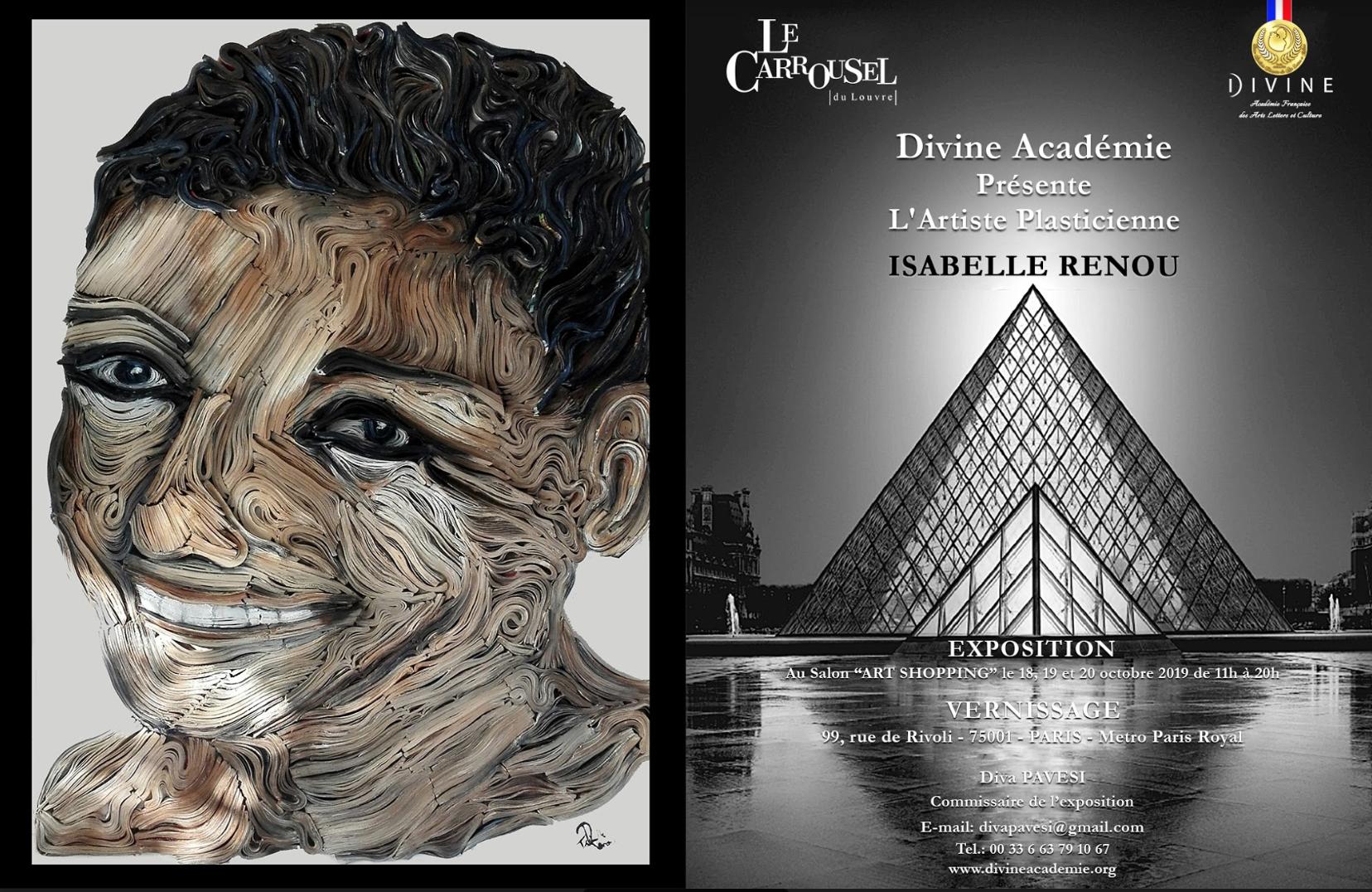 CARROUSEL DU LOUVRE SALON ART SHOPPING 2019  ISABELLE RENOU EXPOSE CHEZ DIVINE ACADÉMIE